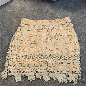 floral netting high waisted mini skirt